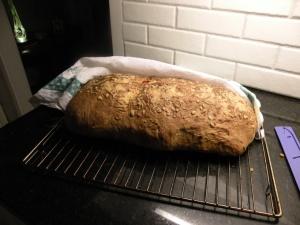 Bröd med ajvar, rosmarin, och oliver