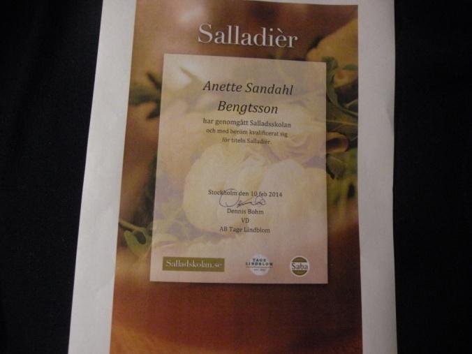 Mitt diplom som Salladièr!