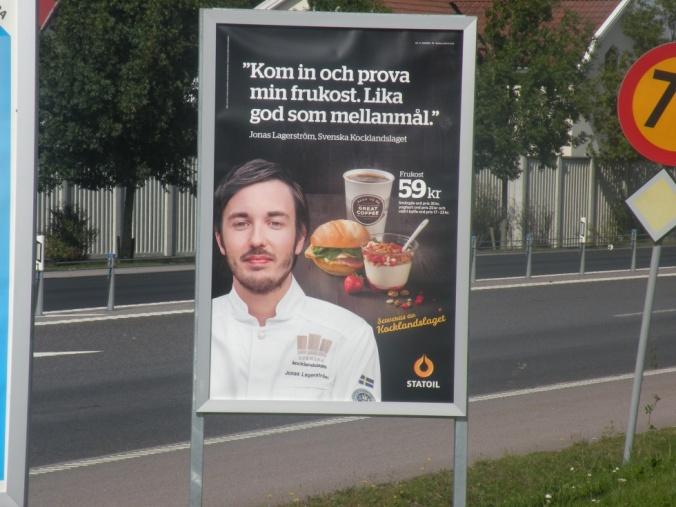 Frukostreklam på Statoil