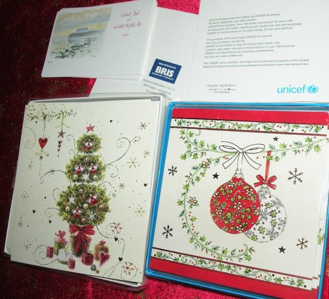 Julkort från BRIS (Barnens rätt i samhället) och Unicef