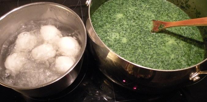 Soppa och kokande ägg