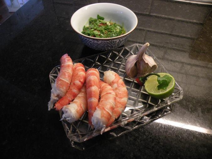 Kryddig olja och goda skaldjur